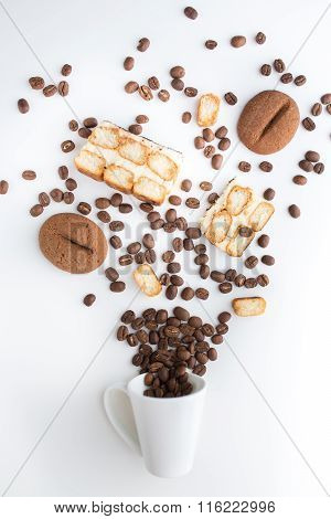 cup filled coffee beans with chocolate tiramisu