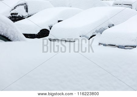 Cars In Snow During Blizzard