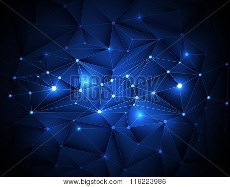 Abstract 3D Geometric, Polygonal, Triangle Pattern In Molecule Structure Shape