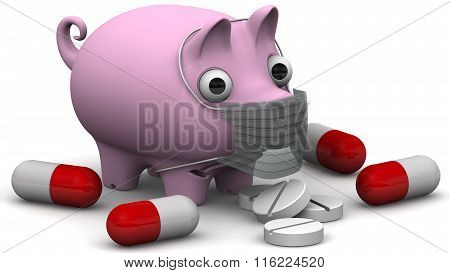 Sick pig with drugs