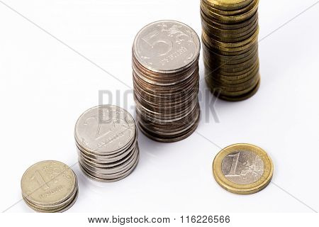 Euro And Russian Rubles Pile