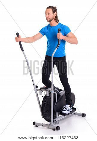 Young Man Train With Fitness Machine