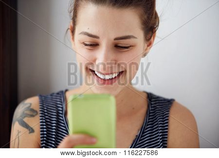 Portrait Young Funny Woman Happy, Something On Cell Phone While Texting Receiving Good Sms Text Mess