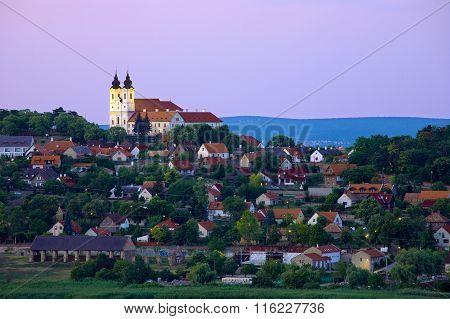 Tihany Abbey At Lake Balaton At Dusk