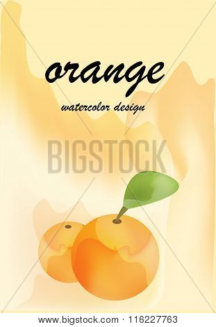 Two Oranges On Watercolor Background