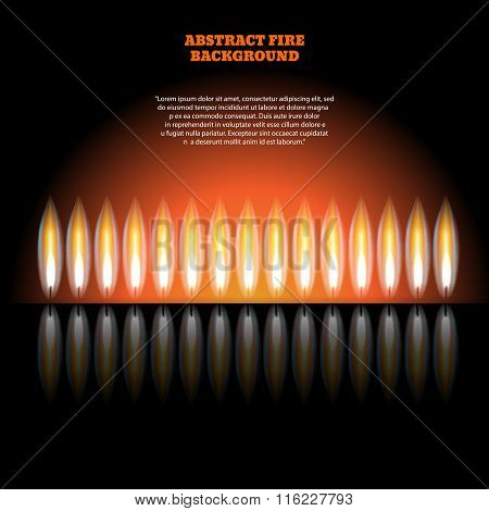 Abstract Burning Fire Flame. Burn And Hot, Warm And Heat, Energy Flammable, Flaming Vector Illustrat