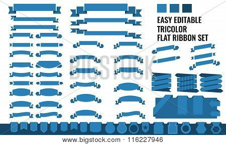 Vector set of tricolor, long, short ribbon banner and tag