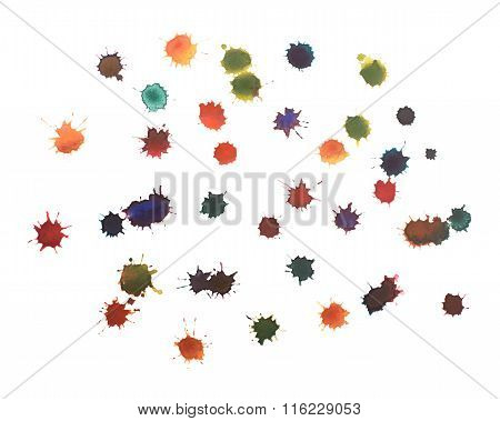 Blot With Splashes And Drops Of Watercolor Painted Isolated On White Background