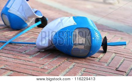 Equipment Fencing Mask And Foil  After  The Match