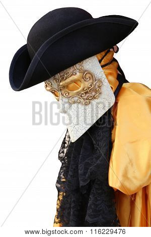 Yellow Carnival Costume Of An Ancient Noble Venetian