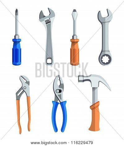 Repair Tools Flat Icons Set