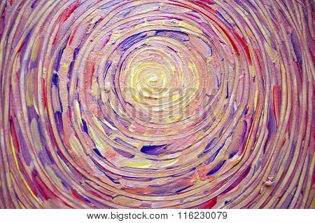 Abstract painting of sun beautiful colorful light on canvas. Modern Impressionism. Illustration of bright shining sun. Stroke painting sun.