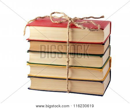 The Pile Of Books Isolated On A White Background.