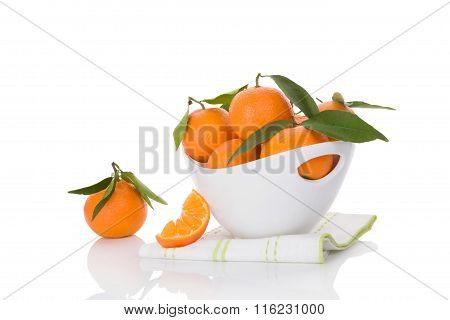 Fresh Ripe Mandarines Isolated On White.