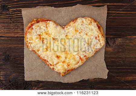 Pizza In Heart Shape Top View.
