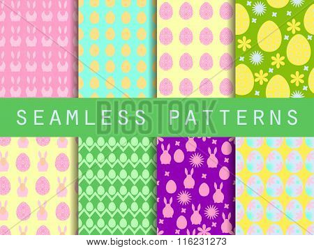 Easter. Set Of Seamless Patterns. Easter Bunny And Easter Egg. Template For Wallpaper, Tile, Tissues