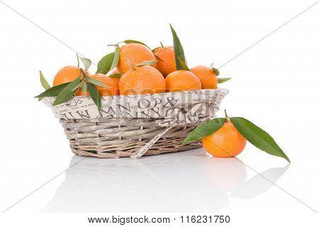 Mandarines In White Wooden Basket.
