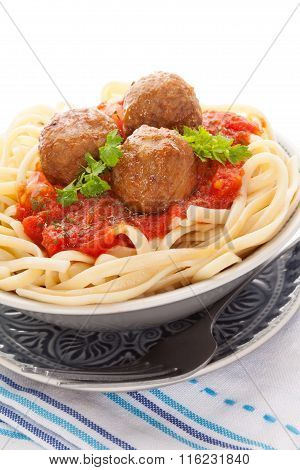 Pasta With Tomato Sauce And Meatballs.