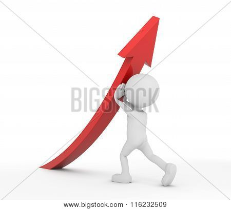 White 3D Human Lifting A Red Arrow