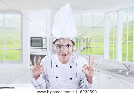 Cheerful Chef Showing Ok Sign