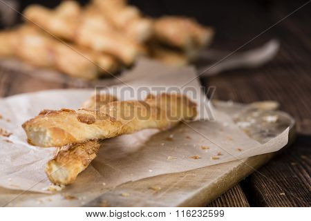 Crispy Pastry Sticks On Wooden Background
