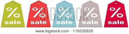 Set Of Bright Sale Shopping Tags isolated on white