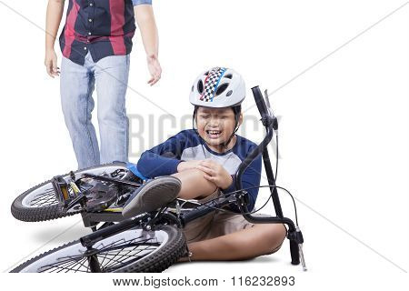 Child Falling From His Bike And Crying