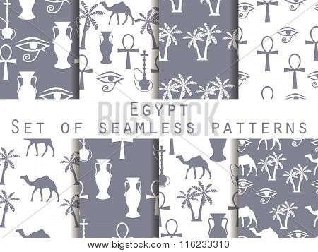 Egypt. Set Of Seamless Patterns. Symbols Of Egypt. Ornament. Vector Illustration.
