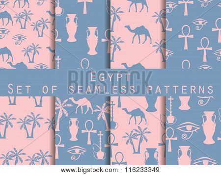 Egypt. Set Of Seamless Patterns. Rose Quartz And Serenity Violet Colors. Vector Illustration.