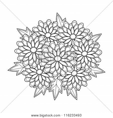 Doodle Art Flowers Chrysanthemum. Zentangle Floral Pattern.