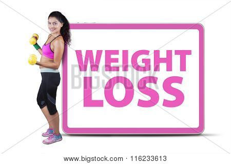 Fitness Woman Weight Loss Text