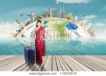 Indian Woman With Suitcase And Map Of World Monument