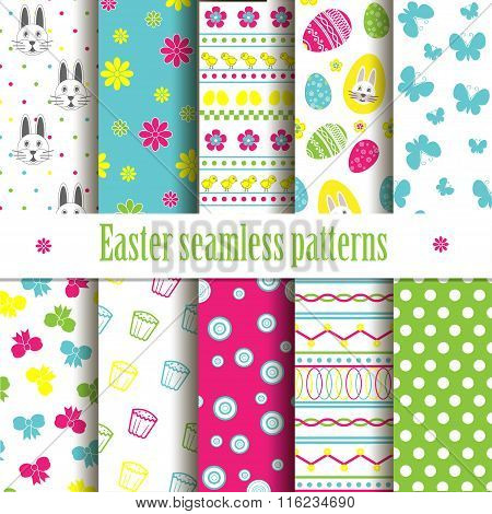 Cute Easter Seamless Vector Patterns.