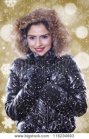 Lovely Indian Woman Wearing Winter Jacket