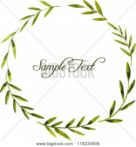 round wreath with watercolor green leaves and branches