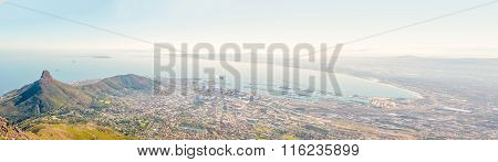 Panoramic View At The City Of Cape Town And The Bay.