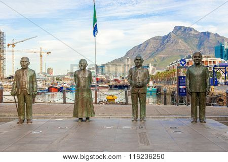 Nobel Square At Waterfront In Cape Town With The Four Statues Of Nobel Prize Winners