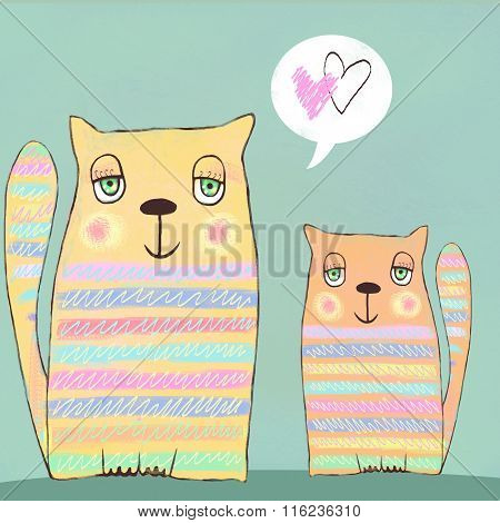 Happy Colorful Valentines Cats. Cute Couple Of Cats. Valentines Card. Love Background. I Love You.