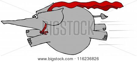 Elephant flying with a cape