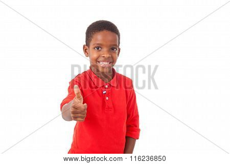 Portrait Of A Cute African American Little Boy Making Thumbs Up Gesture, Isolated On White Backgroun