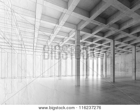 Background With Interior Of Open Space Concrete Room