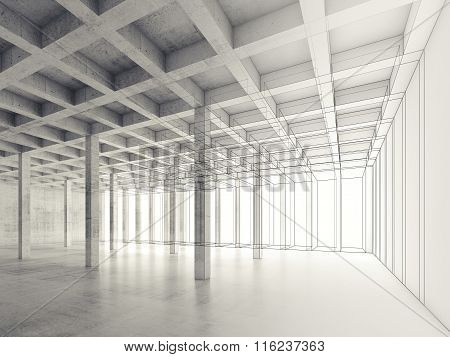Concrete Room, 3D Illustration, Wire-frame Effect