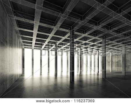 Empty Dark Concrete Room, 3D Illustration, Wire-frame
