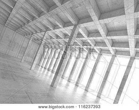 Abstract Architecture Background, Concrete Room 3 D