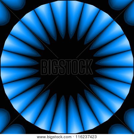 Seamless circle and square pattern blue black