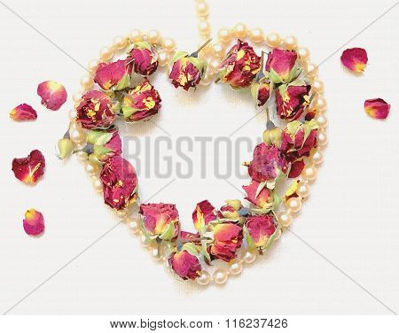 Gentle Background With Pink Rosebud, Rose Petals And Heart Shaped Pearl Necklace Isolated On White.