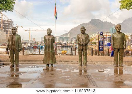 Nobel Square At Waterfront In Cape Town With The Four Statues Of Nobel Price Winners