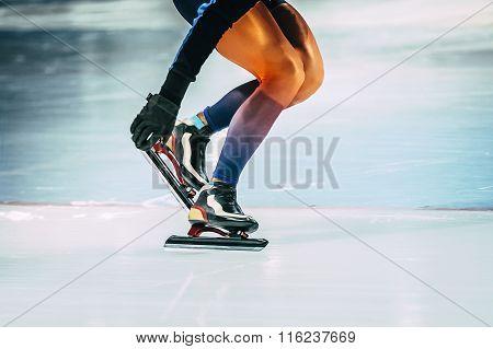 closeup girl athlete speed skating