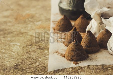 Homemade Chocolate Truffles On Cooking Paper Copy Space