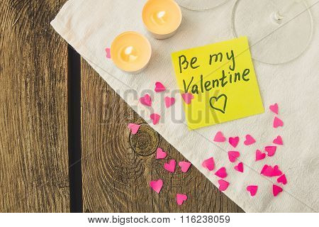 Sticky Note For Saint Valentine's Day And Tea Lights Copy Space
